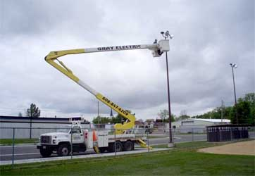 Light pole repair by Gray Electric of Mauston and Tomah, WI